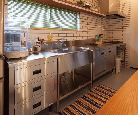 モルタルの床に業務用のキッチン